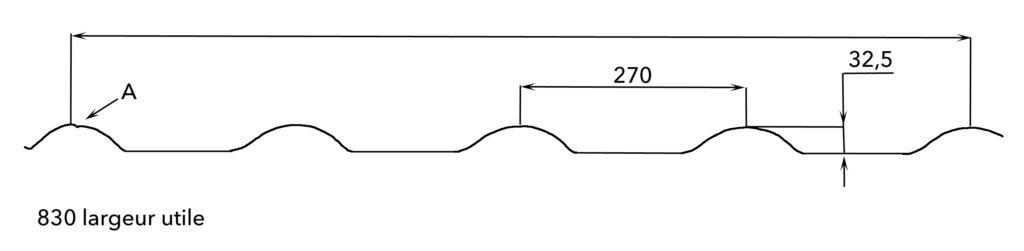 Profil géométrique de la tôle tuilée TPG. Tropic Profil Guadeloupe conçoit les calepinages et fabrique vos tôles ondulées, tuilées, revêtues, en alu... pour vos toitures et bardages.